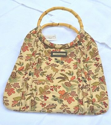 Longaberger Homestead AUTUMN PATH Fabric REVERSIBLE TOTE Bag - Bamboo Handles