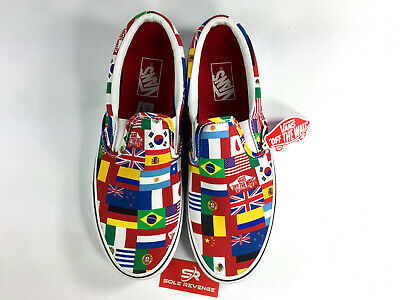 38867e7437d NEW VANS CLASSIC SLIP ON - A38F7RX0 Multi Flags True White World Country c1