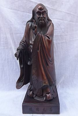 """14"""" Chinese Pure Bronze Standing Great Philosopher Founder Taoism Laozi Statue"""