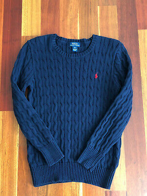 Ralph Lauren Girls Boys Size 14-16 Large Cable Knit Sweater Cotton Navy Blue