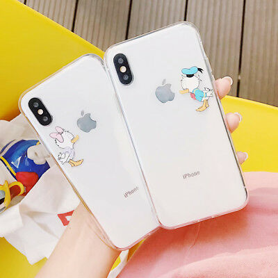 Cartoon Donald Daisy Lovers TPU Disney Phone Case Cover For iPhone X 8 7 6S Plus