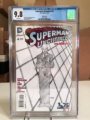 Superman Unchained #4 1:300 Jim Lee Lex Luther Sketch Variant CGC 9.8 NM+/M