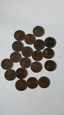 UK Great Britain British One 1 Penny Old Victoria Coin Lot#