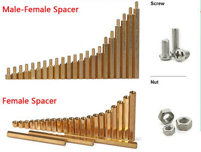 M3/M4 Brass Male-Female Female-Female Column Standoff Spacer Pillar Screws Nut