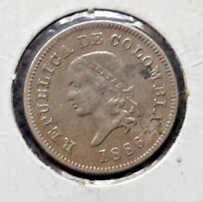 Antique Colombia Coin 5 Cents From 1886 / Cooper-Nickel