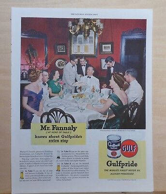 1939 magazine ad for Gulfpride Oil - Marion T. Fannaly at Antoine's New Orleans