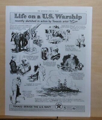 1941 magazine ad for Texaco - Life on a U.S. Warship, Frank Godwin illustrations