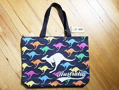 Australian Souvenir Shopping Carrying Tote Travel Bag zipper Kangaroo gift