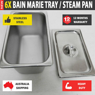 6 x Bain Marie Tray Steam Pan With Lid Gastronorm Stainless Steel 260 x 160 x150