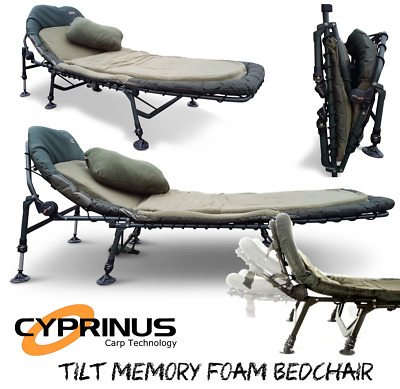 Cyprinus™ Tilt Memory Foam Carp Fishing 6 leg adjustable Bedchair Bed chair
