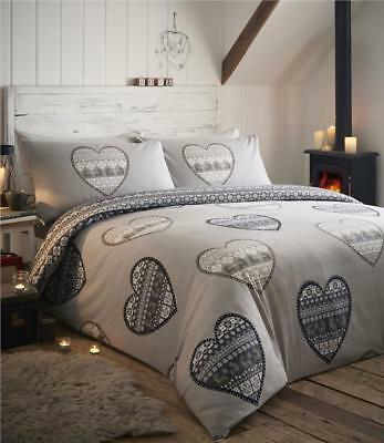 Brushed cotton flannelette duvet sets patchwork heart print quilt cover bedding