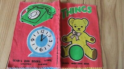 "Vintage ""things"" Deans Rag Cloth Book Vintage Baby Safe Fabric Books"