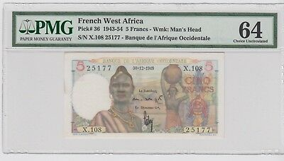 French West Africa P 36 1943-1954 5 Francs PMG 64 Choice UNC 30.12.1949