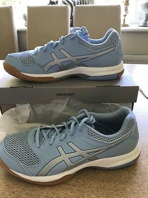 Ladies Asics Gel Rocket 8 Airy Blue Size 7/40.5 Indoor Court Trainers Boxed