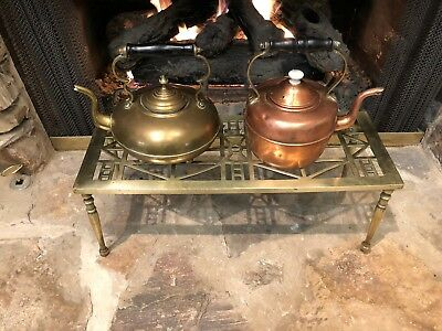 Rare Antique English Victorian Brass Large Double Kettle Stand Plant Fireplace