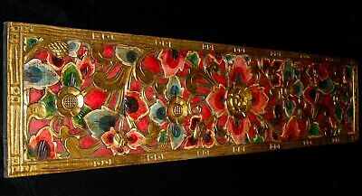 Balinese Lotus Wall art Panel Hand Painted Carved Wood wall Bali Architectural