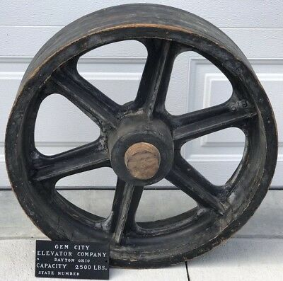 """Antique 26"""" Wood Mold for Cast Iron Industrial Elevator Pulley Wheel - Steampunk"""