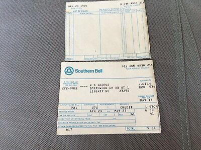 RARE Vintage Southern Bell Telephone Bill 1976