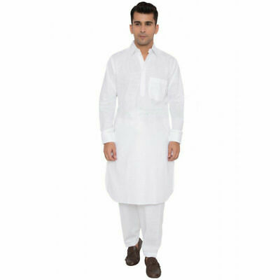 Men's Pathani Kurta Pajama Indian Cotton Ethnic Suit Plain White For Mens