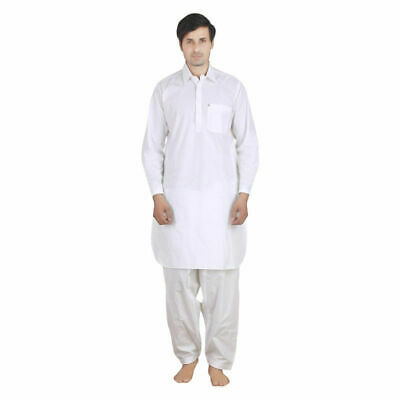 Men's Pathani Kurta Pajama Indian Cotton Ethnic Suit Plain White