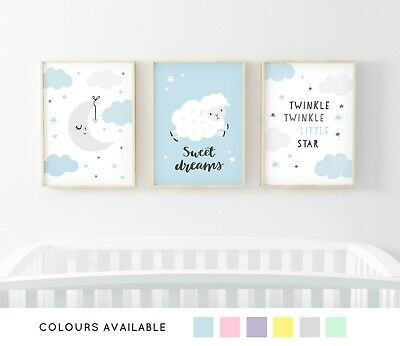Sweet Dreams Nursery Prints Set of 3 Girl Boy Baby Room Pictures Wall Art Decor