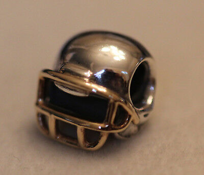 Authentic Pandora 790570 Retired Football Helmet Sterling And 14K Gold W box 3fcee952b