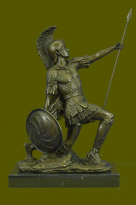 Art Deco Large Roman Warrior Bronze Sculpture Marble Base Figurine Figure Decor