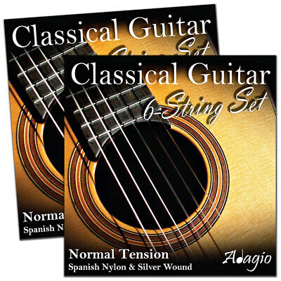 2 SETS Of Adagio Pro Nylon Classical Guitar Strings - Normal Tension Set +Chart