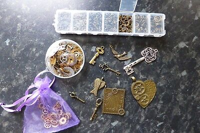 Job Lot of Unused Steampunk Findings Keys, Cogs, Jump Rings, Watch/Clock Parts