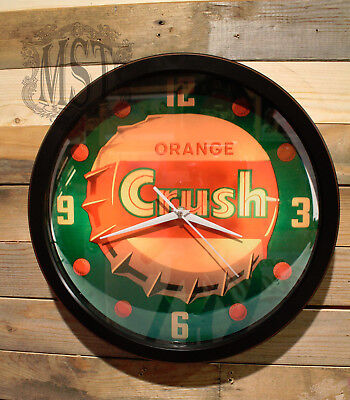 Orange Crush Soda Cola Retro Wall Clock Large 13 inch Silent Sweep Hand Glass