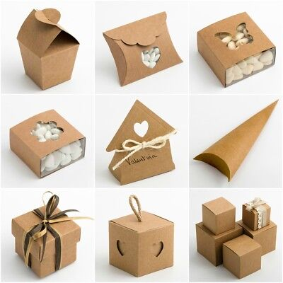 RUSTIC KRAFT Luxury DIY Wedding Favour Gift Boxes Natural Vintage Shabby Chic