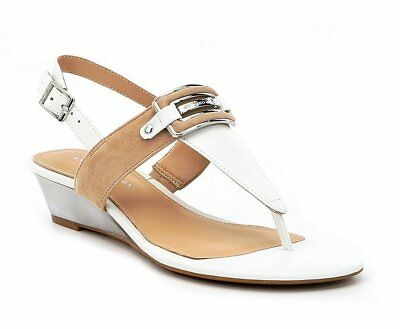 266c84f8e48 ANTONIO MELANI AMABELE Leather Thong Wedge Sandals Luggage Tan ...