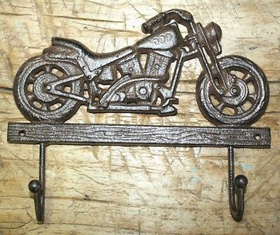 Cast Iron MOTORCYCLE Towel Coat Hooks Hat Hook Key Rack BIKE RIDER HARLEY 2 HOOK