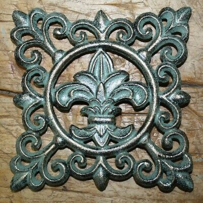 Cast Iron FLEUR DE LIS Plaque Finial Garden Sign Home Wall Decor Rustic Trivet