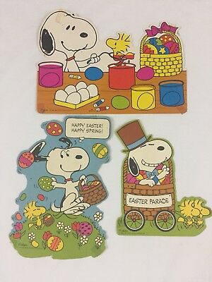 3 VTG 50's 60's Schultz Snoopy Paper Easter Theme Die Cuts Cut Outs Classroom