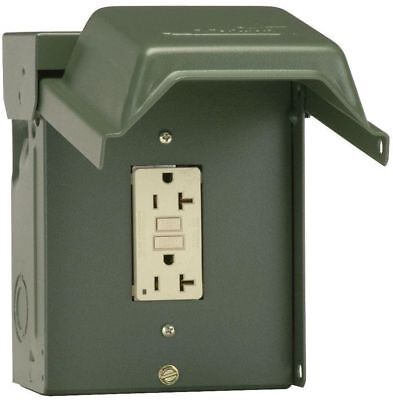 20 Amp Backyard Outlet With GFI Receptacle Weather Resistant Steel Outdoor Use