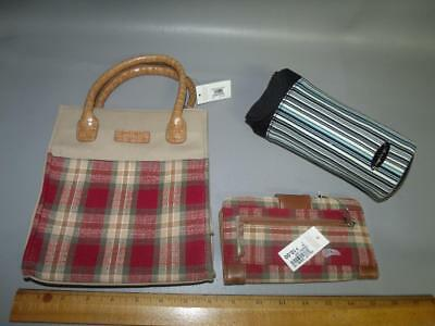 Set of 3 LONGABERGER Lunch Purse Bag Wallet & Drink Caddy Case LOT Collection
