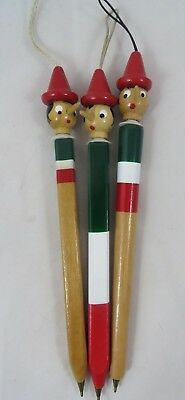 """Vintage Pinocchio Pen Lot of 3 Wooden Italian Flag Colors 8"""" Hanging Collectible"""