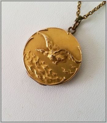 Antique Art Nouveau Victorian Gold Filled Round Locket With Bird In High Relief