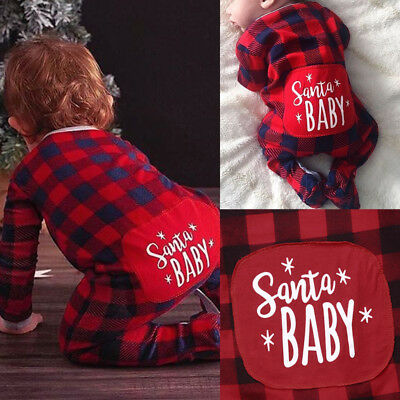 Newborn Infant Baby Boy Girls Christmas Romper Bodysuit Pajamas Clothes Outfit