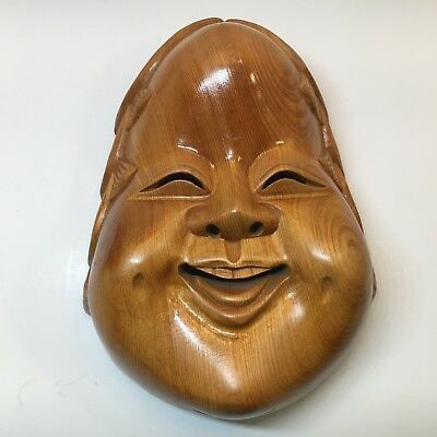 Stained Solid Wood Carved Chinese Wooden Mask with Happy Smile