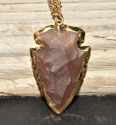 Jasper Crystal Arrowhead Pendant Necklace Natural Electroplated Silver Plated