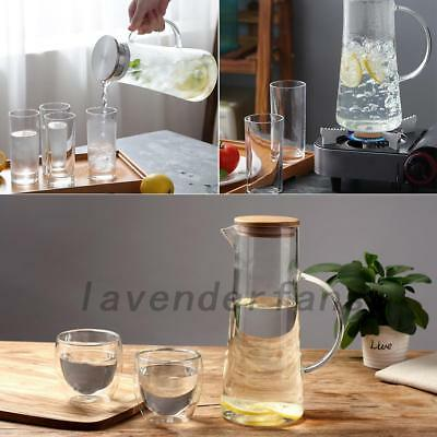 1.5L Glass Water/Juice/Milk Carafe with Pitcher Wooden/Stainless Steel Lid