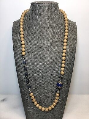 Vintage Silver Round Jasper Faceted Sodalite Beads Rhinestone Spacer Necklace