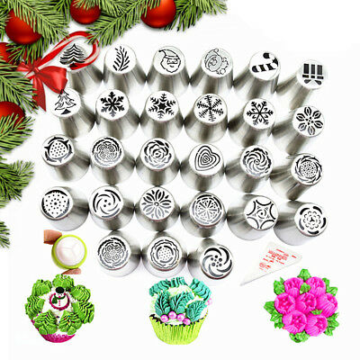 30X Christmas Icing Russian Piping Leaf Nozzles Stainless Cake Decorating Tools