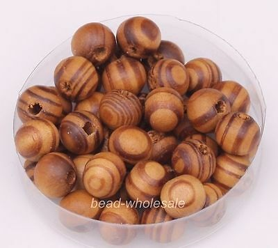 200pcs Wholesale Brown/Red Color Round Wooden Loose Spacer Beads 8mm Lot ##