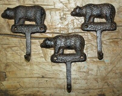 3 Cast Iron Antique Style BEAR Towel Coat Hooks Hat Hook Key Rack Hunting