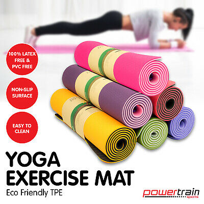 New TPE Yoga Exercise Mat Eco Friendly Home Gym Pilates Floor Fitness 8mm Thick