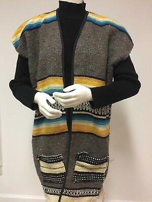 Mexican Hand Woven Serape Vest Fringed 36 in Long 'as is'