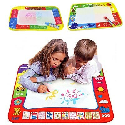 4Color Water Drawing Mat Board &Magic Pen Doodle Kids Toy Gift 46X30cm